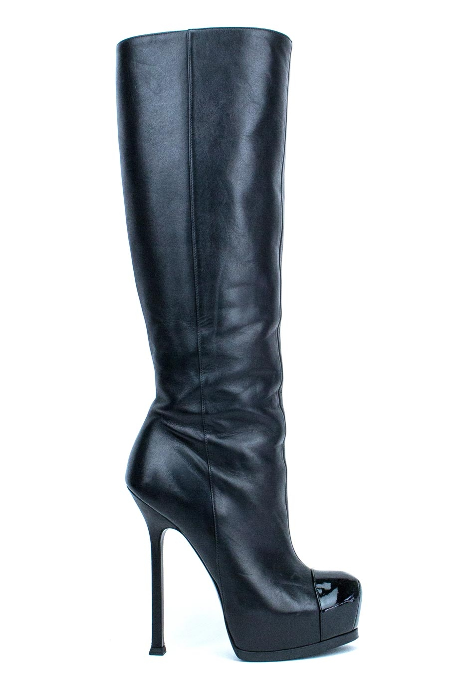 140930ecb85 ... patent Babel Vitello Flat Knee High boots Size 36.5 6 Yves Saint Laurent  ...